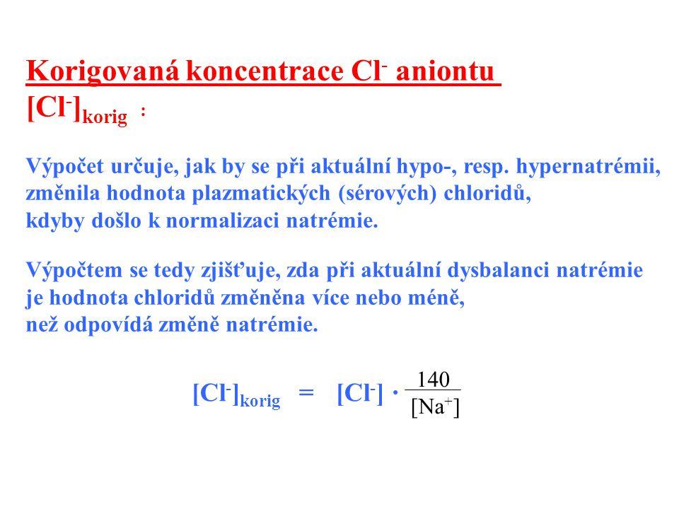 Výpočet určuje, jak by se při aktuální hypo-, resp. hypernatrémii, změnila hodnota plazmatických (sérových) chloridů, kdyby došlo k normalizaci natrém