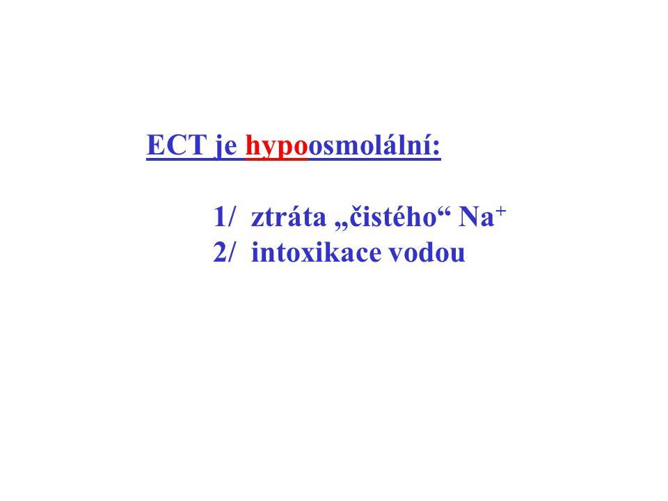 """ECT je hypoosmolální: 1/ ztráta """"čistého"""" Na + 2/ intoxikace vodou"""
