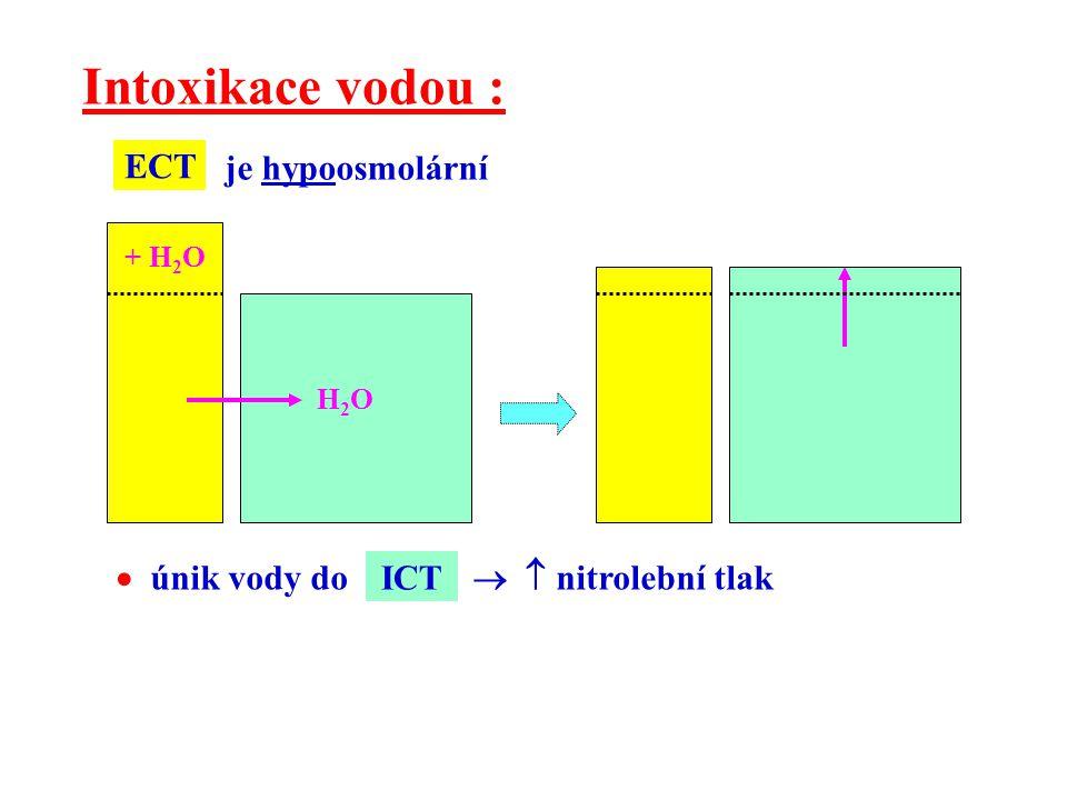 H2OH2O Intoxikace vodou : + H 2 O je hypoosmolární  únik vody do   nitrolební tlak ICT ECT