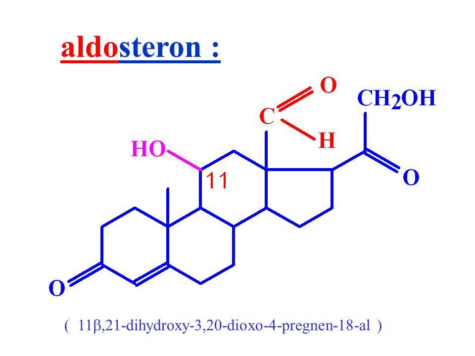 aldosteron : ( 11 ,21-dihydroxy-3,20-dioxo-4-pregnen-18-al )