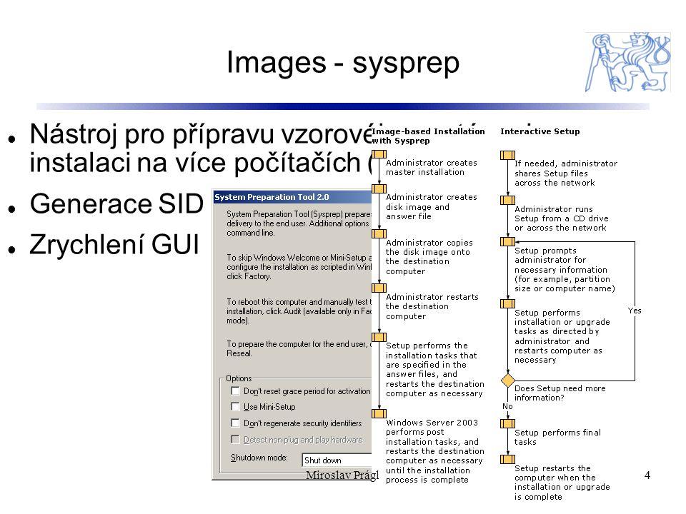 Images - sysprep 4 Nástroj pro přípravu vzorového systému k instalaci na více počítačích (cloning) Generace SID Zrychlení GUI 4Miroslav Prágl