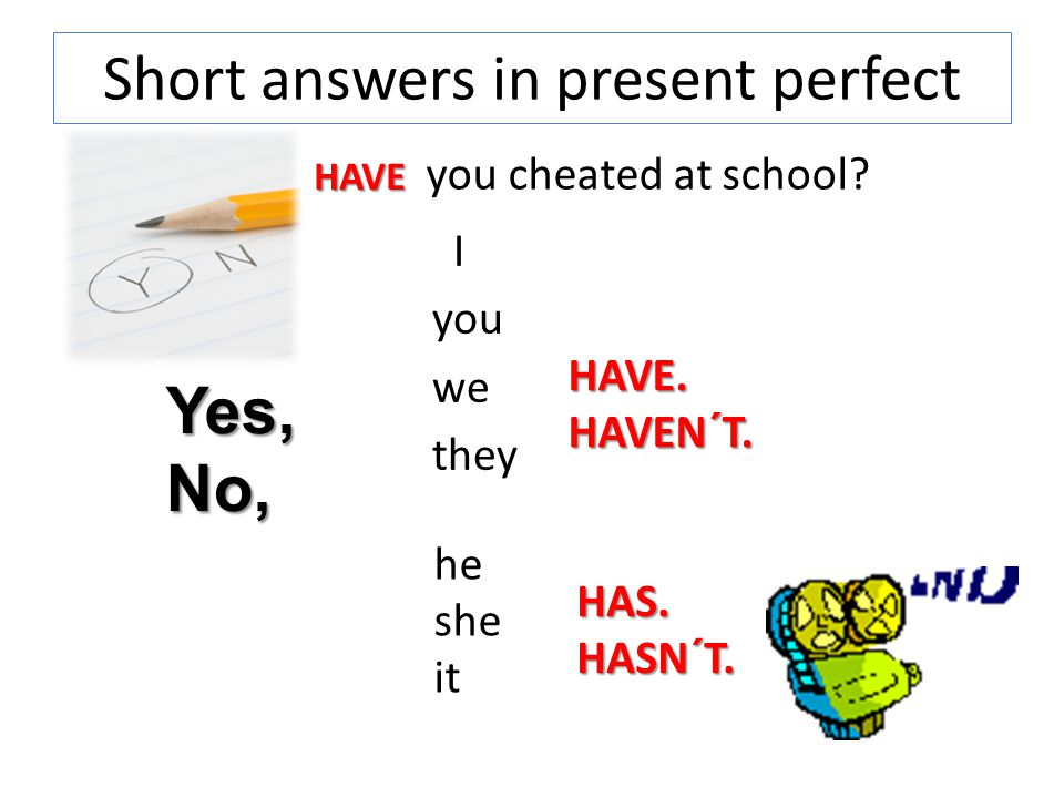 Short answers in present perfect I you we they HAVE.HAVEN´T.