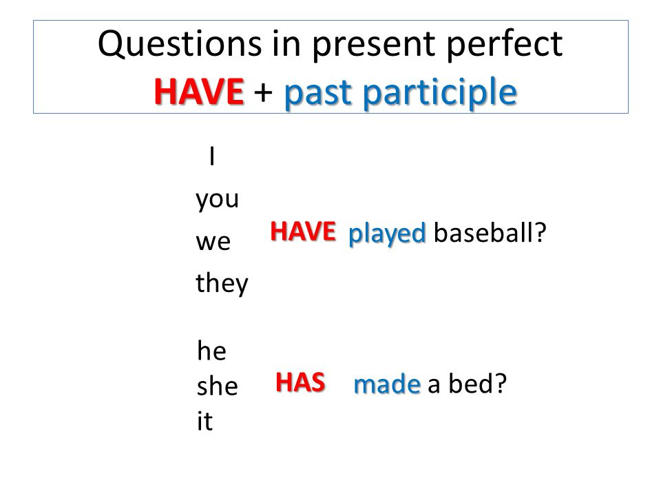 HAVEpast participle Questions in present perfect HAVE + past participle I you we they HAVE he she it HAS played played baseball.