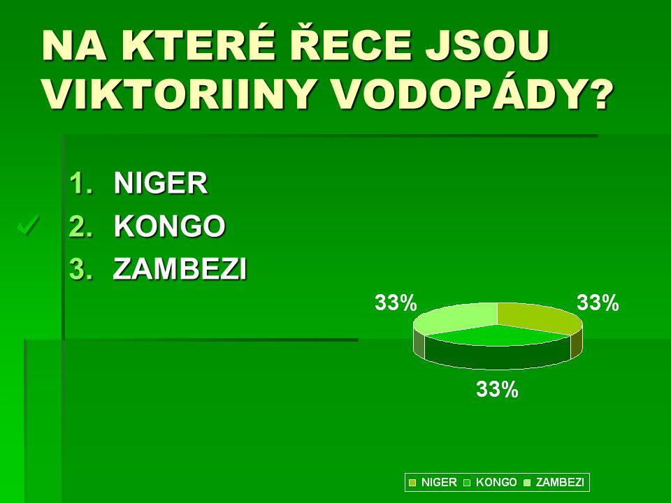NA KTERÉ ŘECE JSOU VIKTORIINY VODOPÁDY? 1.NIGER 2.KONGO 3.ZAMBEZI