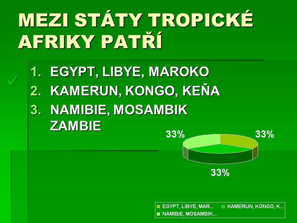 MEZI STÁTY TROPICKÉ AFRIKY PATŘÍ 1.EGYPT, LIBYE, MAROKO 2.KAMERUN, KONGO, KEŇA 3.NAMIBIE, MOSAMBIK ZAMBIE