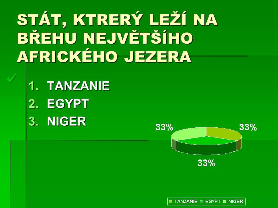 STÁT, KTRERÝ LEŽÍ NA BŘEHU NEJVĚTŠÍHO AFRICKÉHO JEZERA 1.TANZANIE 2.EGYPT 3.NIGER