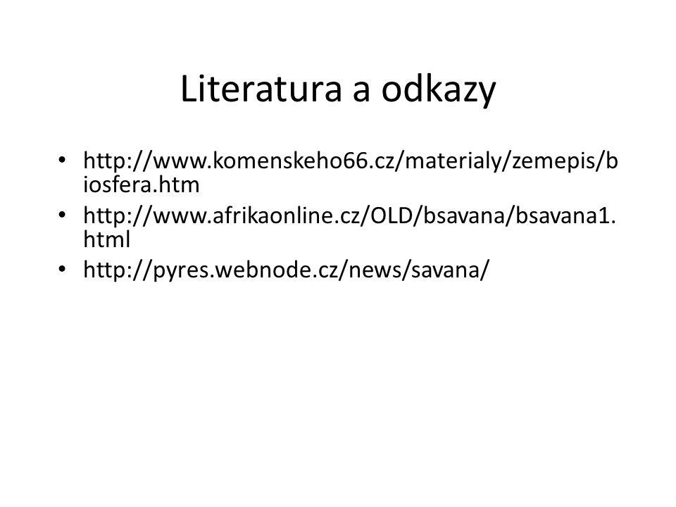 Literatura a odkazy http://www.komenskeho66.cz/materialy/zemepis/b iosfera.htm http://www.afrikaonline.cz/OLD/bsavana/bsavana1. html http://pyres.webn