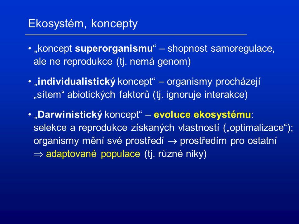"""Ekosystém, koncepty """"koncept superorganismu – shopnost samoregulace, ale ne reprodukce (tj."""
