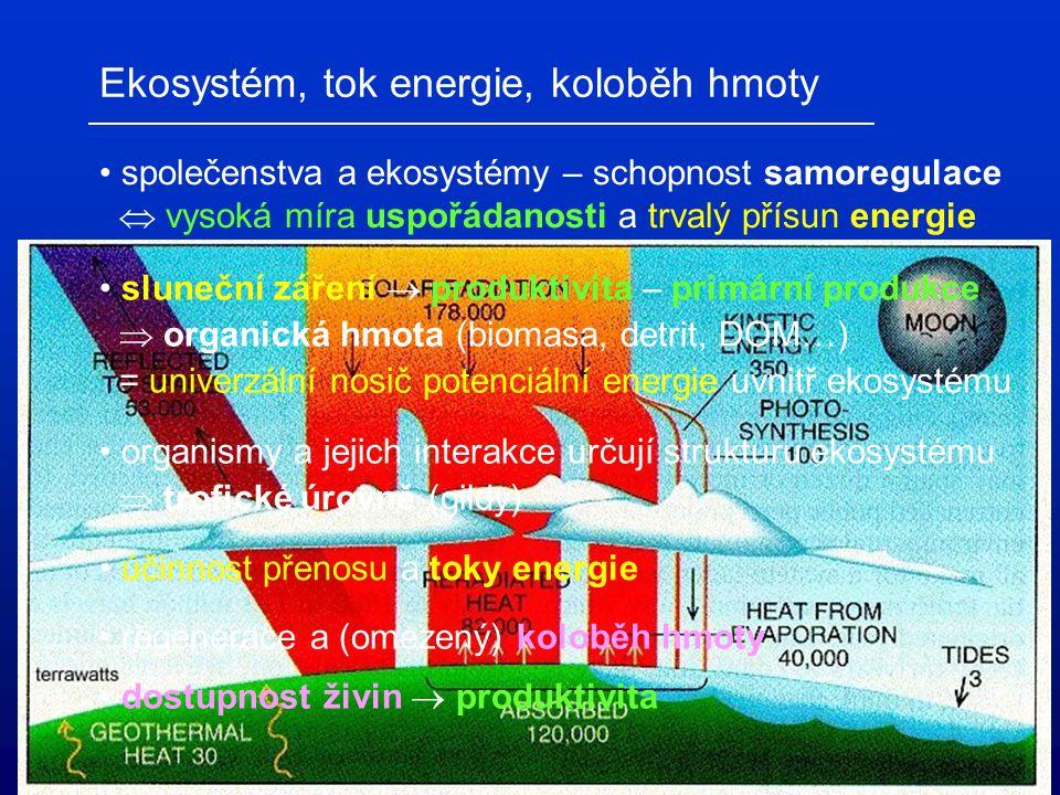 Ekosystém, tok energie, koloběh hmoty společenstva a ekosystémy – schopnost samoregulace  vysoká míra uspořádanosti a trvalý přísun energie sluneční záření  produktivita – primární produkce  organická hmota (biomasa, detrit, DOM…) = univerzální nosič potenciální energie uvnitř ekosystému organismy a jejich interakce určují strukturu ekosystému  trofické úrovně (gildy) účinnost přenosu a toky energie regenerace a (omezený) koloběh hmoty dostupnost živin  produktivita