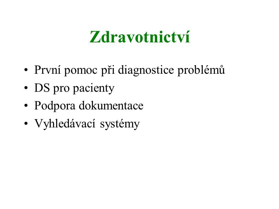Zdravotnictví První pomoc při diagnostice problémů DS pro pacienty Podpora dokumentace Vyhledávací systémy