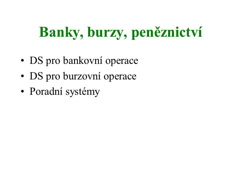 Banky, burzy, peněznictví DS pro bankovní operace DS pro burzovní operace Poradní systémy