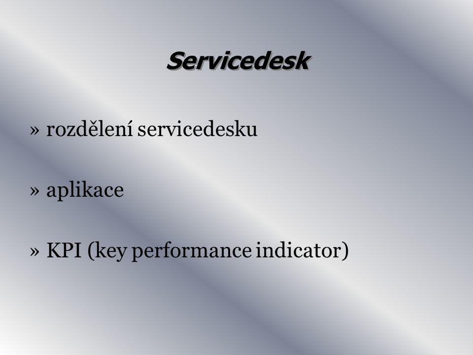 Servicedesk »rozdělení servicedesku »aplikace »KPI (key performance indicator)