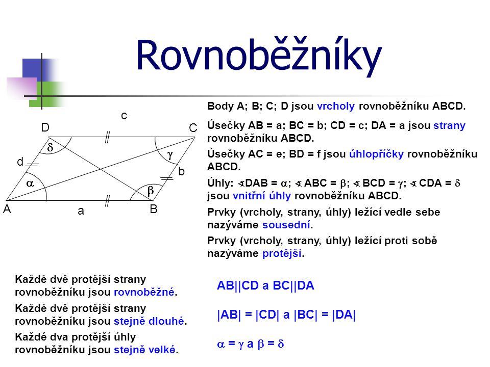 Rovnoběžníky Body A; B; C; D jsou vrcholy rovnoběžníku ABCD. Prvky (vrcholy, strany, úhly) ležící vedle sebe nazýváme sousední. Úsečky AB = a; BC = b;