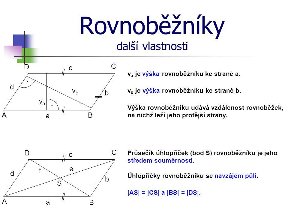 Rovnoběžníky další vlastnosti v a je výška rovnoběžníku ke straně a. Úhlopříčky rovnoběžníku se navzájem půlí. v b je výška rovnoběžníku ke straně b.
