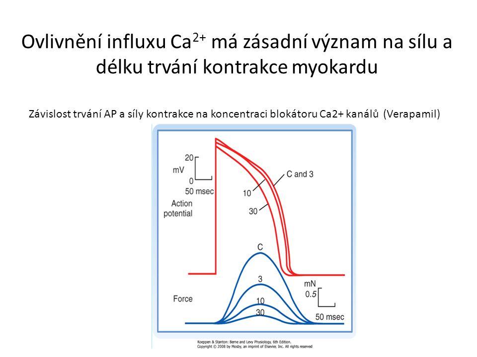 Ovlivnění influxu Ca 2+ má zásadní význam na sílu a délku trvání kontrakce myokardu Závislost trvání AP a síly kontrakce na koncentraci blokátoru Ca2+