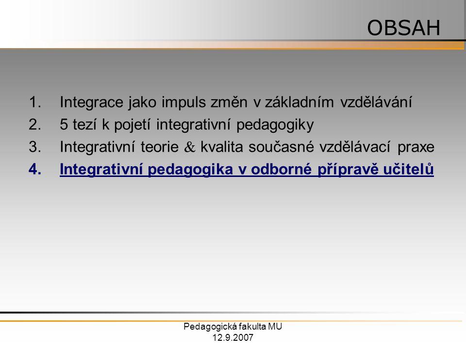 Pedagogická fakulta MU 12.9.2007 1.Integrace jako impuls změn v základním vzdělávání 2.5 tezí k pojetí integrativní pedagogiky 3.Integrativní teorie  kvalita současné vzdělávací praxe 4.Integrativní pedagogika v odborné přípravě učitelů OBSAH