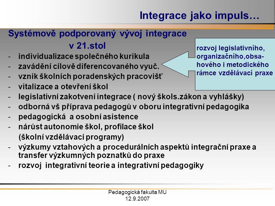 Pedagogická fakulta MU 12.9.2007 Integrace jako impuls… Systémově podporovaný vývoj integrace v 21.stol -individualizace společného kurikula -zavádění cílově diferencovaného vyuč.