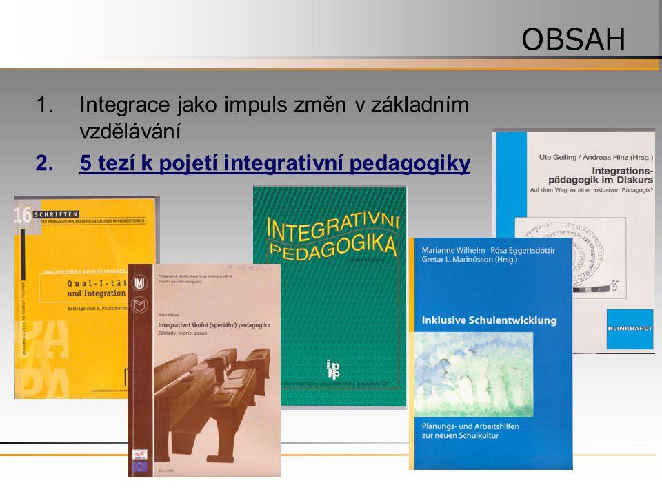 1.Integrace jako impuls změn v základním vzdělávání 2.5 tezí k pojetí integrativní pedagogiky OBSAH