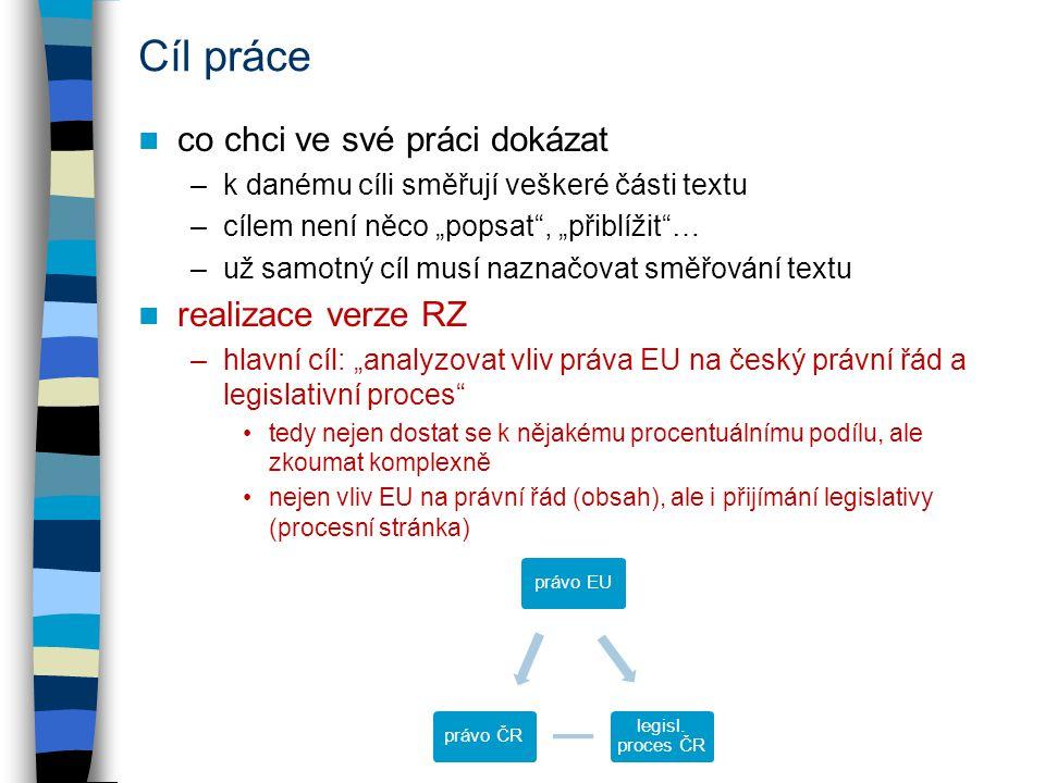 """Cíl práce co chci ve své práci dokázat –k danému cíli směřují veškeré části textu –cílem není něco """"popsat , """"přiblížit … –už samotný cíl musí naznačovat směřování textu realizace verze RZ –hlavní cíl: """"analyzovat vliv práva EU na český právní řád a legislativní proces tedy nejen dostat se k nějakému procentuálnímu podílu, ale zkoumat komplexně nejen vliv EU na právní řád (obsah), ale i přijímání legislativy (procesní stránka) právo EU legisl."""