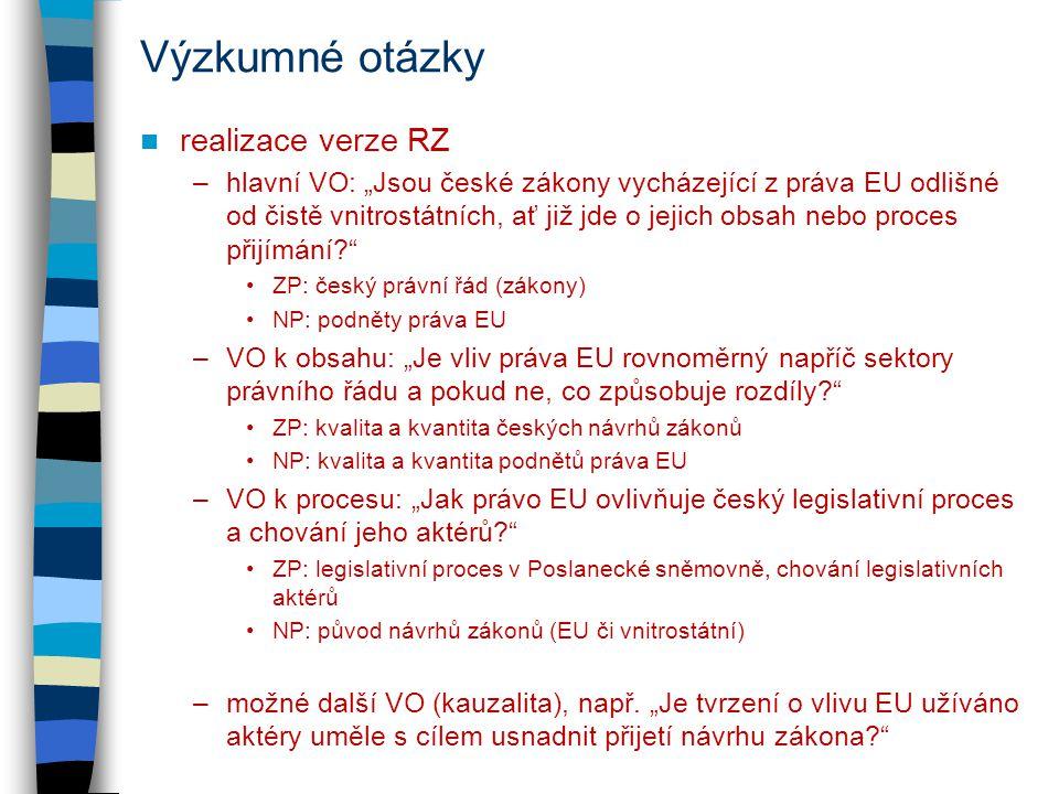 """Výzkumné otázky realizace verze RZ –hlavní VO: """"Jsou české zákony vycházející z práva EU odlišné od čistě vnitrostátních, ať již jde o jejich obsah nebo proces přijímání ZP: český právní řád (zákony) NP: podněty práva EU –VO k obsahu: """"Je vliv práva EU rovnoměrný napříč sektory právního řádu a pokud ne, co způsobuje rozdíly ZP: kvalita a kvantita českých návrhů zákonů NP: kvalita a kvantita podnětů práva EU –VO k procesu: """"Jak právo EU ovlivňuje český legislativní proces a chování jeho aktérů ZP: legislativní proces v Poslanecké sněmovně, chování legislativních aktérů NP: původ návrhů zákonů (EU či vnitrostátní) –možné další VO (kauzalita), např."""