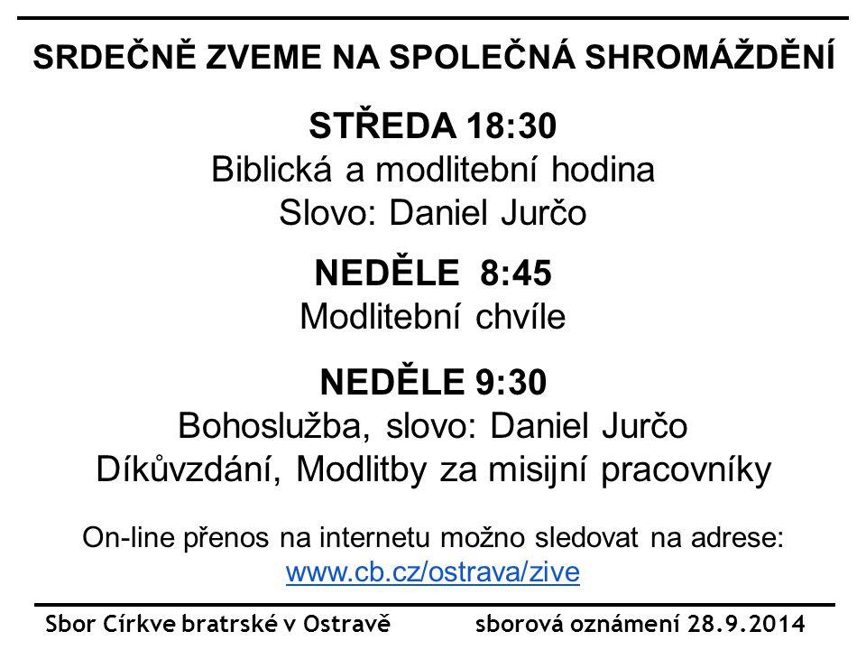 SRDEČNĚ ZVEME NA DALŠÍ SETKÁNÍ STŘEDA Klub Seniorů 29.9.-1.10.