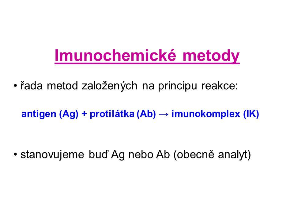 Imunochemické metody řada metod založených na principu reakce: antigen (Ag) + protilátka (Ab) → imunokomplex (IK) stanovujeme buď Ag nebo Ab (obecně analyt)