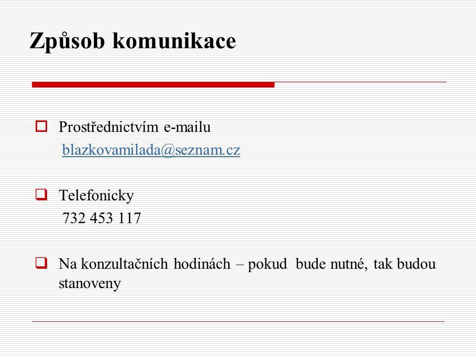 Způsob komunikace  Prostřednictvím e-mailu blazkovamilada@seznam.cz  Telefonicky 732 453 117  Na konzultačních hodinách – pokud bude nutné, tak bud