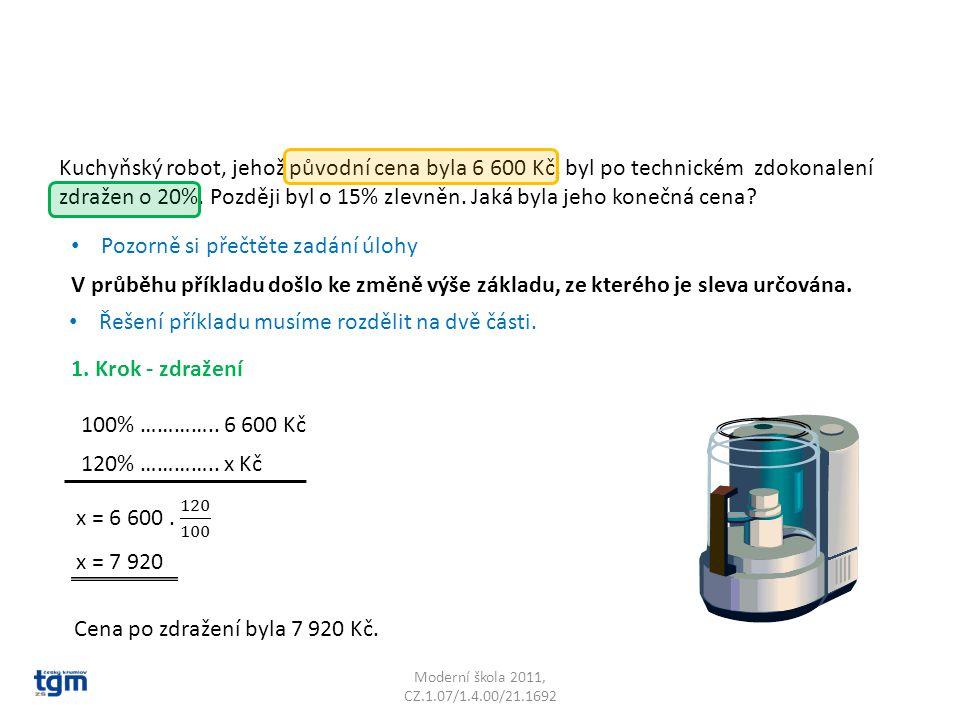 Moderní škola 2011, CZ.1.07/1.4.00/21.1692 Kuchyňský robot, jehož původní cena byla 6 600 Kč, byl po technickém zdokonalení zdražen o 20%.
