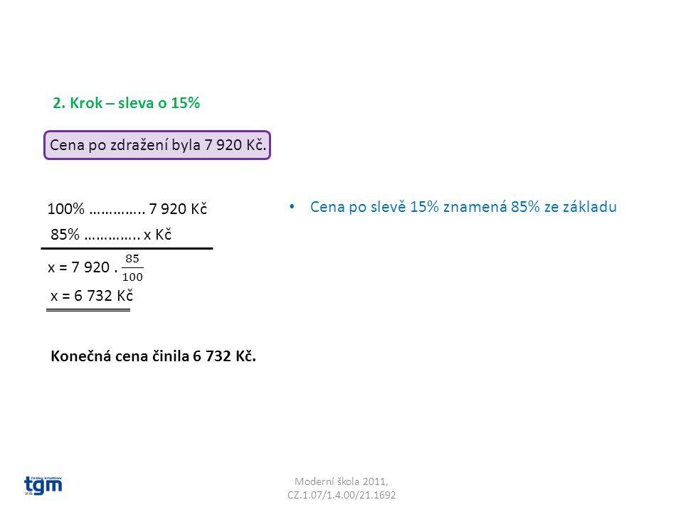 Moderní škola 2011, CZ.1.07/1.4.00/21.1692 2. Krok – sleva o 15% 100% ………….. 7 920 Kč 85% ………….. x Kč x = 6 732 Kč Konečná cena činila 6 732 Kč. Cena