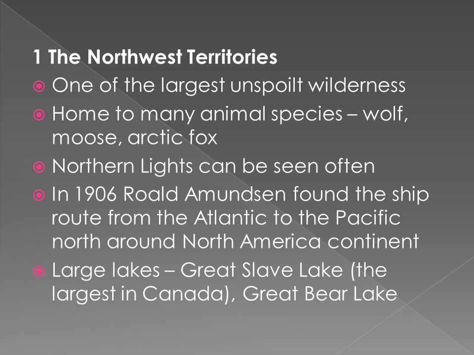 1 The Northwest Territories  One of the largest unspoilt wilderness  Home to many animal species – wolf, moose, arctic fox  Northern Lights can be seen often  In 1906 Roald Amundsen found the ship route from the Atlantic to the Pacific north around North America continent  Large lakes – Great Slave Lake (the largest in Canada), Great Bear Lake