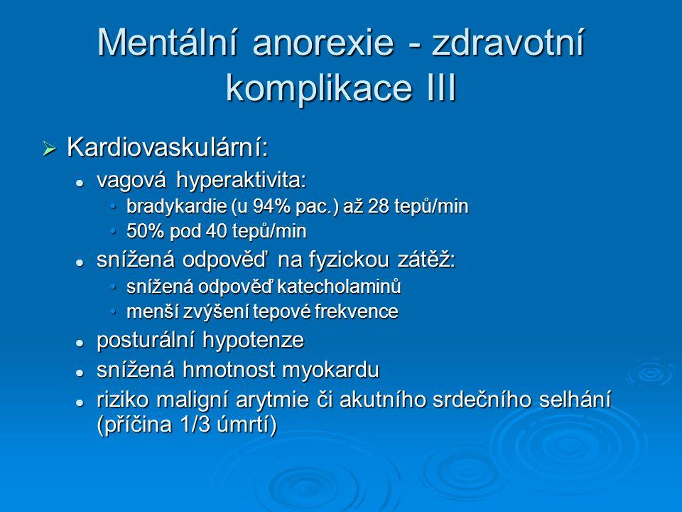 Mentální anorexie - zdravotní komplikace III  Kardiovaskulární: vagová hyperaktivita: vagová hyperaktivita: bradykardie (u 94% pac.) až 28 tepů/minbradykardie (u 94% pac.) až 28 tepů/min 50% pod 40 tepů/min50% pod 40 tepů/min snížená odpověď na fyzickou zátěž: snížená odpověď na fyzickou zátěž: snížená odpověď katecholaminůsnížená odpověď katecholaminů menší zvýšení tepové frekvencemenší zvýšení tepové frekvence posturální hypotenze posturální hypotenze snížená hmotnost myokardu snížená hmotnost myokardu riziko maligní arytmie či akutního srdečního selhání (příčina 1/3 úmrtí) riziko maligní arytmie či akutního srdečního selhání (příčina 1/3 úmrtí)