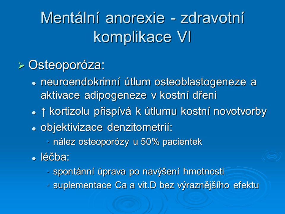 Mentální anorexie - zdravotní komplikace VI  Osteoporóza: neuroendokrinní útlum osteoblastogeneze a aktivace adipogeneze v kostní dřeni neuroendokrinní útlum osteoblastogeneze a aktivace adipogeneze v kostní dřeni ↑ kortizolu přispívá k útlumu kostní novotvorby ↑ kortizolu přispívá k útlumu kostní novotvorby objektivizace denzitometrií: objektivizace denzitometrií: nález osteoporózy u 50% pacienteknález osteoporózy u 50% pacientek léčba: léčba: spontánní úprava po navýšení hmotnostispontánní úprava po navýšení hmotnosti suplementace Ca a vit.D bez výraznějšího efektusuplementace Ca a vit.D bez výraznějšího efektu