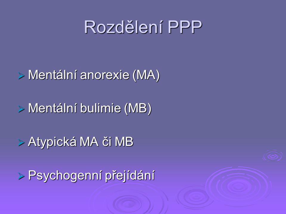 Rozdělení PPP  Mentální anorexie (MA)  Mentální bulimie (MB)  Atypická MA či MB  Psychogenní přejídání