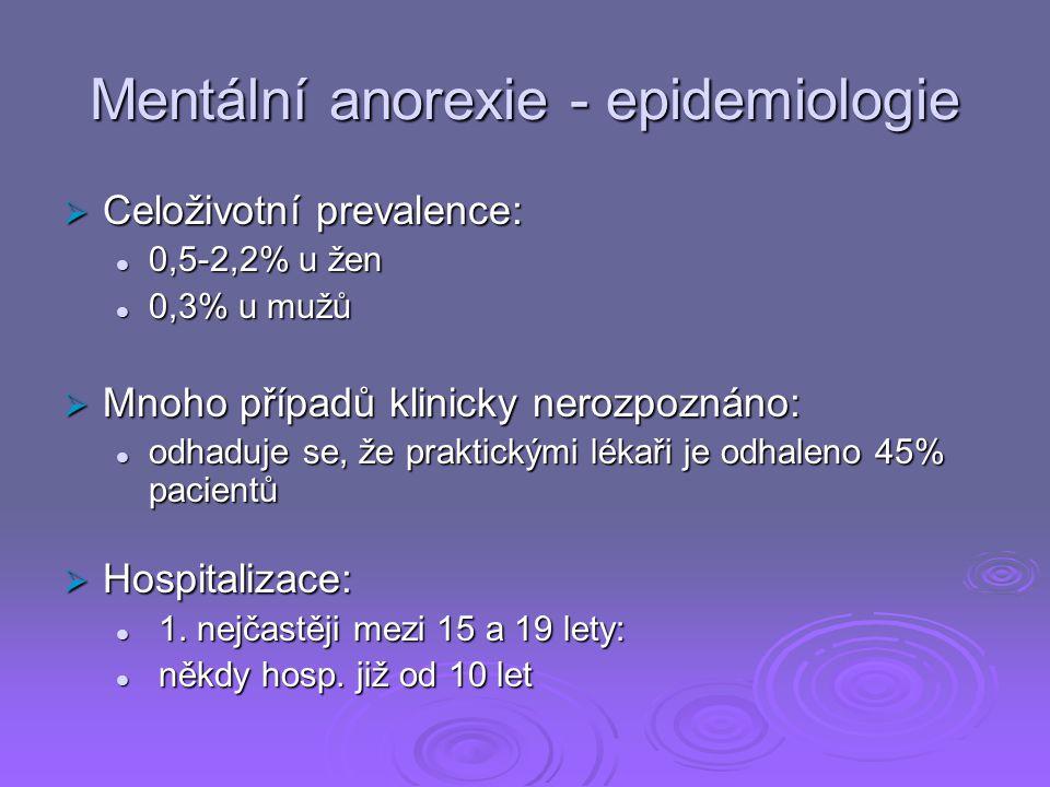 Mentální anorexie - epidemiologie  Celoživotní prevalence: 0,5-2,2% u žen 0,5-2,2% u žen 0,3% u mužů 0,3% u mužů  Mnoho případů klinicky nerozpoznáno: odhaduje se, že praktickými lékaři je odhaleno 45% pacientů odhaduje se, že praktickými lékaři je odhaleno 45% pacientů  Hospitalizace: 1.