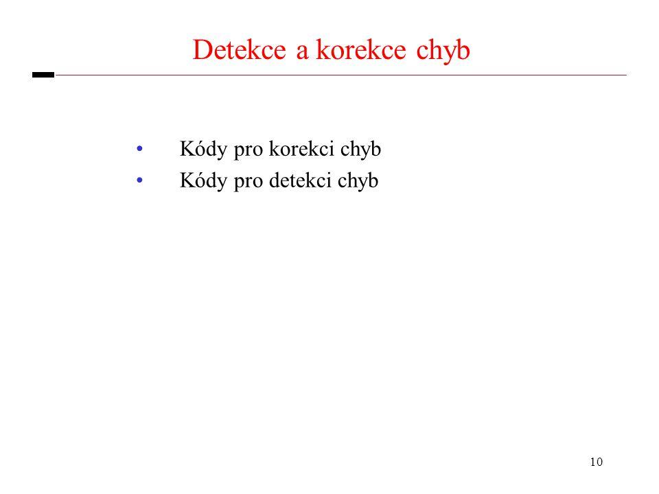 10 Detekce a korekce chyb Kódy pro korekci chyb Kódy pro detekci chyb