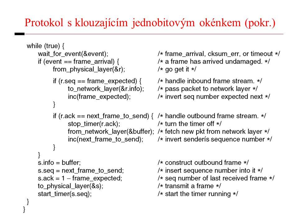 23 Protokol s klouzajícím jednobitovým okénkem (pokr.)