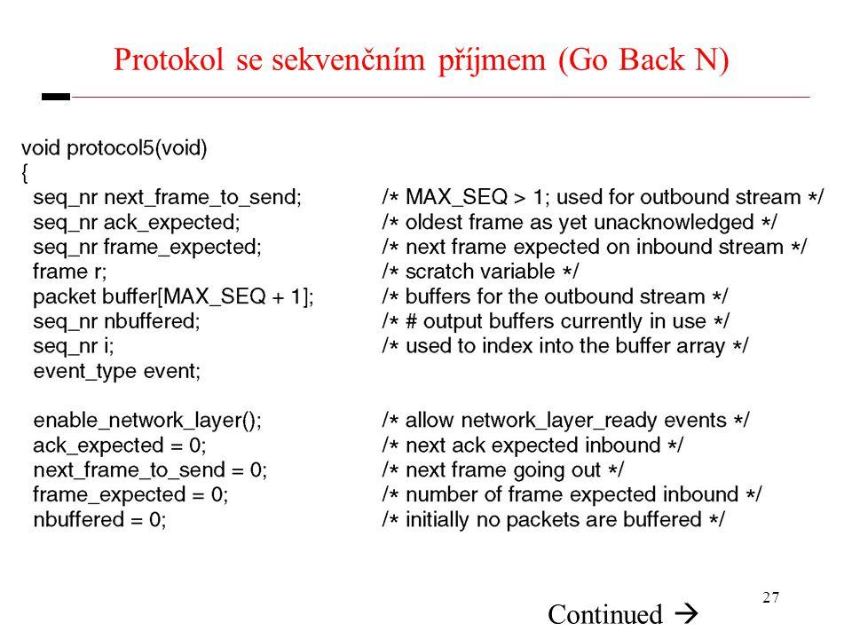 27 Protokol se sekvenčním příjmem (Go Back N) Continued 