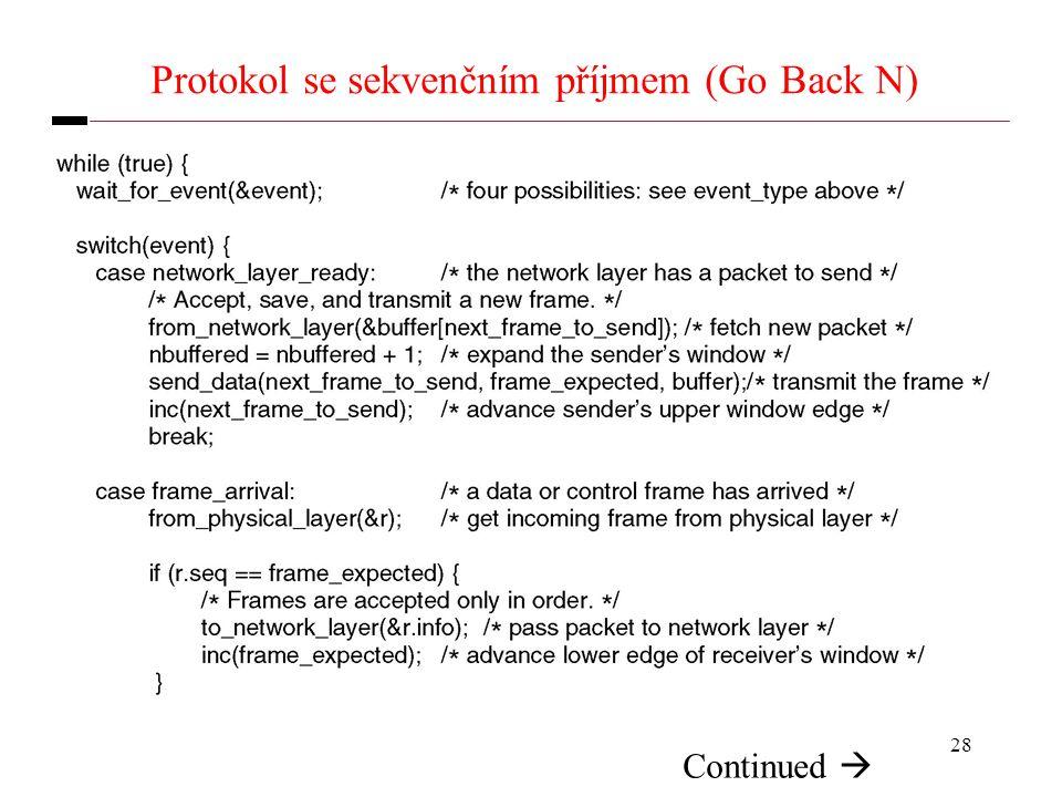 28 Protokol se sekvenčním příjmem (Go Back N) Continued 