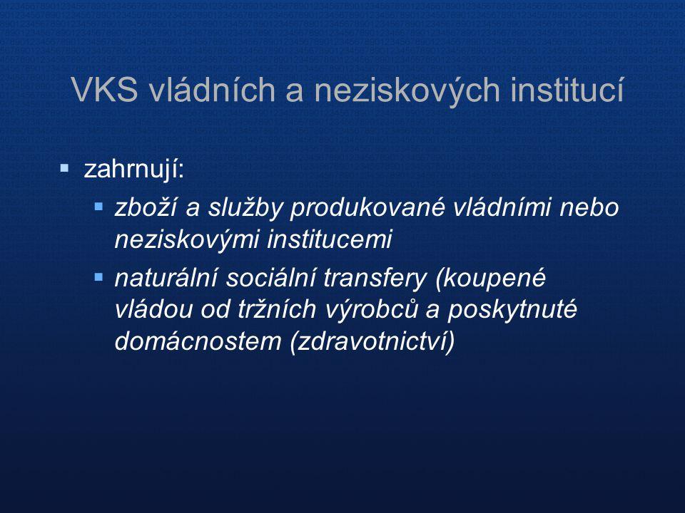 VKS vládních a neziskových institucí  zahrnují:  zboží a služby produkované vládními nebo neziskovými institucemi  naturální sociální transfery (koupené vládou od tržních výrobců a poskytnuté domácnostem (zdravotnictví)