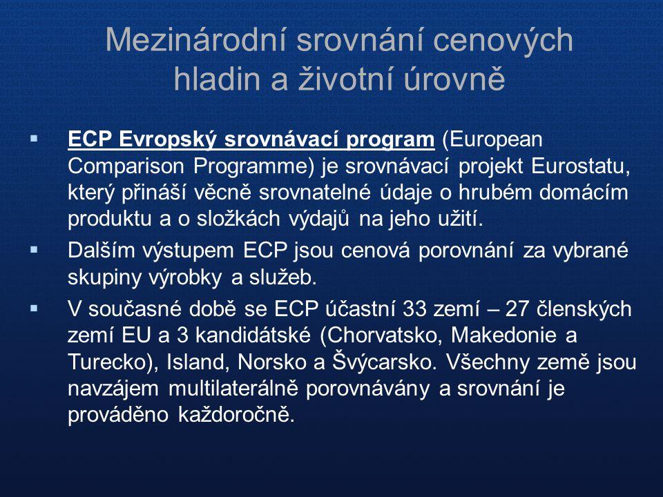 Mezinárodní srovnání cenových hladin a životní úrovně  ECP Evropský srovnávací program (European Comparison Programme) je srovnávací projekt Eurostatu, který přináší věcně srovnatelné údaje o hrubém domácím produktu a o složkách výdajů na jeho užití.