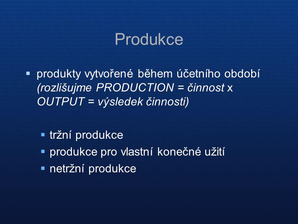Produkce  produkty vytvořené během účetního období (rozlišujme PRODUCTION = činnost x OUTPUT = výsledek činnosti)  tržní produkce  produkce pro vlastní konečné užití  netržní produkce