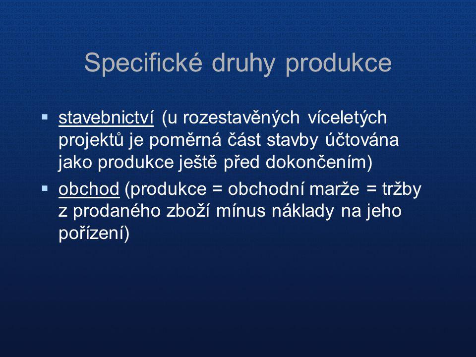 Specifické druhy produkce  stavebnictví (u rozestavěných víceletých projektů je poměrná část stavby účtována jako produkce ještě před dokončením)  obchod (produkce = obchodní marže = tržby z prodaného zboží mínus náklady na jeho pořízení)
