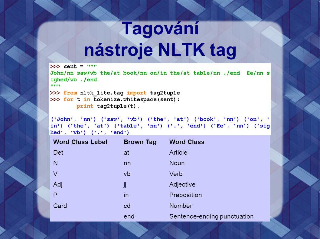 Tagování nástroje NLTK tag Word Class LabelBrown TagWord Class DetatArticle NnnNoun VvbVerb AdjjjAdjective PinPreposition CardcdNumber endSentence-end