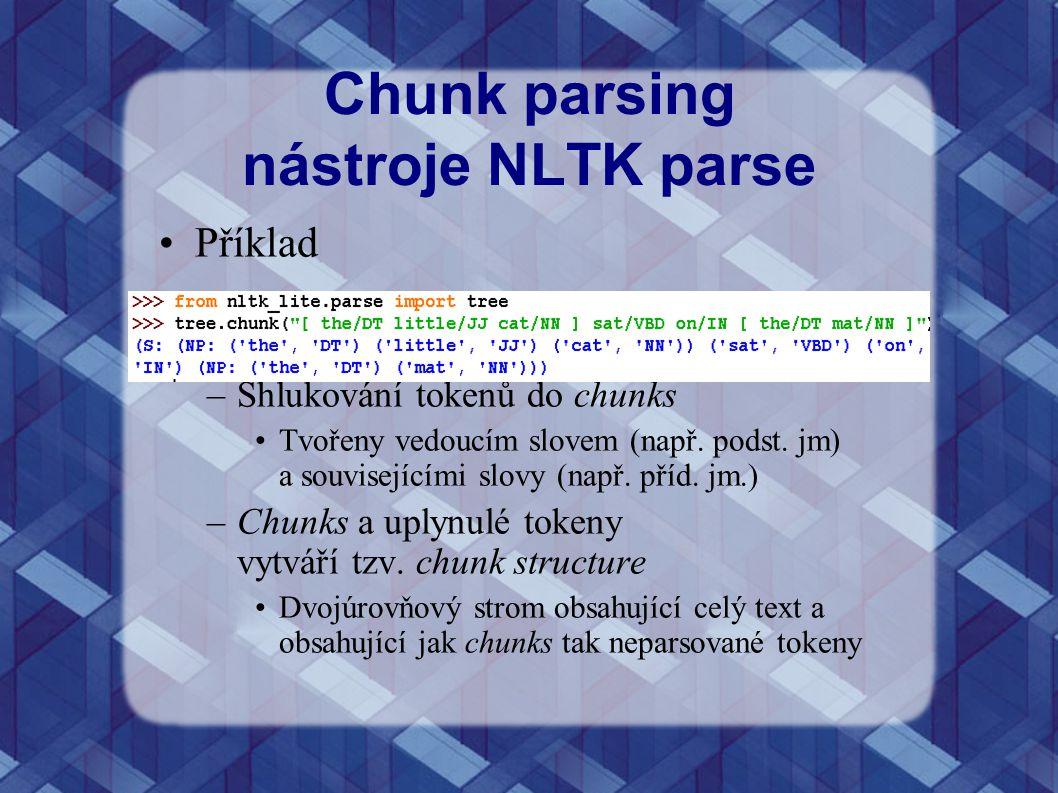 Chunk parsing nástroje NLTK parse Příklad –Shlukování tokenů do chunks Tvořeny vedoucím slovem (např. podst. jm) a souvisejícími slovy (např. příd. jm