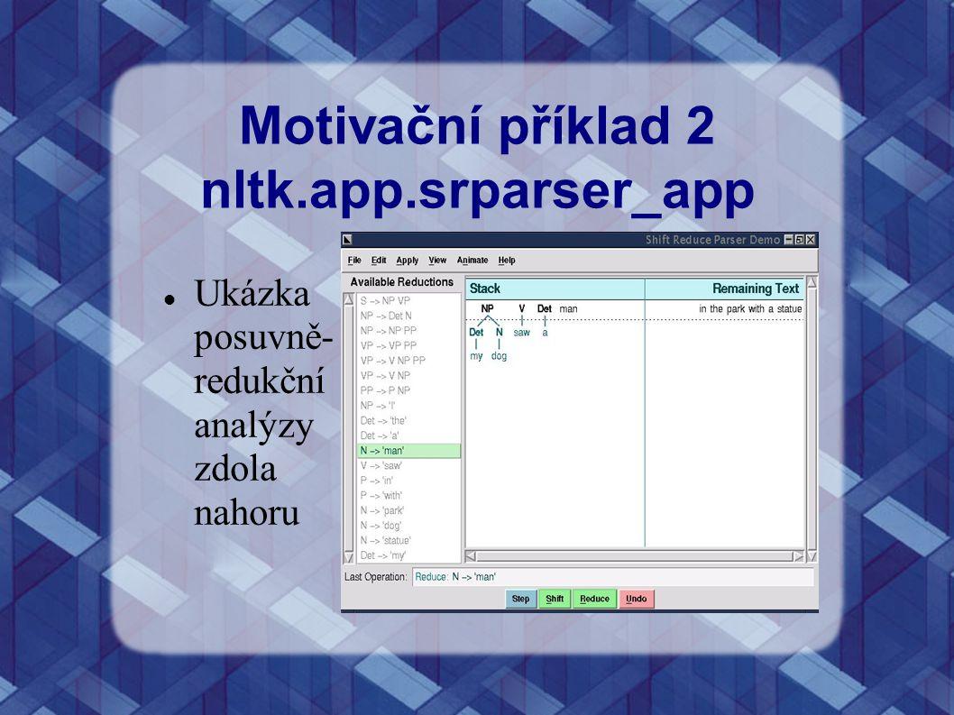 Motivační příklad 2 nltk.app.srparser_app Ukázka posuvně- redukční analýzy zdola nahoru