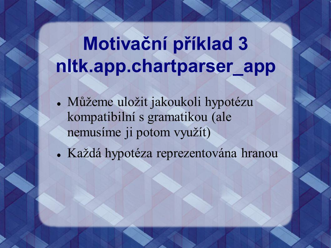 Motivační příklad 3 nltk.app.chartparser_app Můžeme uložit jakoukoli hypotézu kompatibilní s gramatikou (ale nemusíme ji potom využít) Každá hypotéza