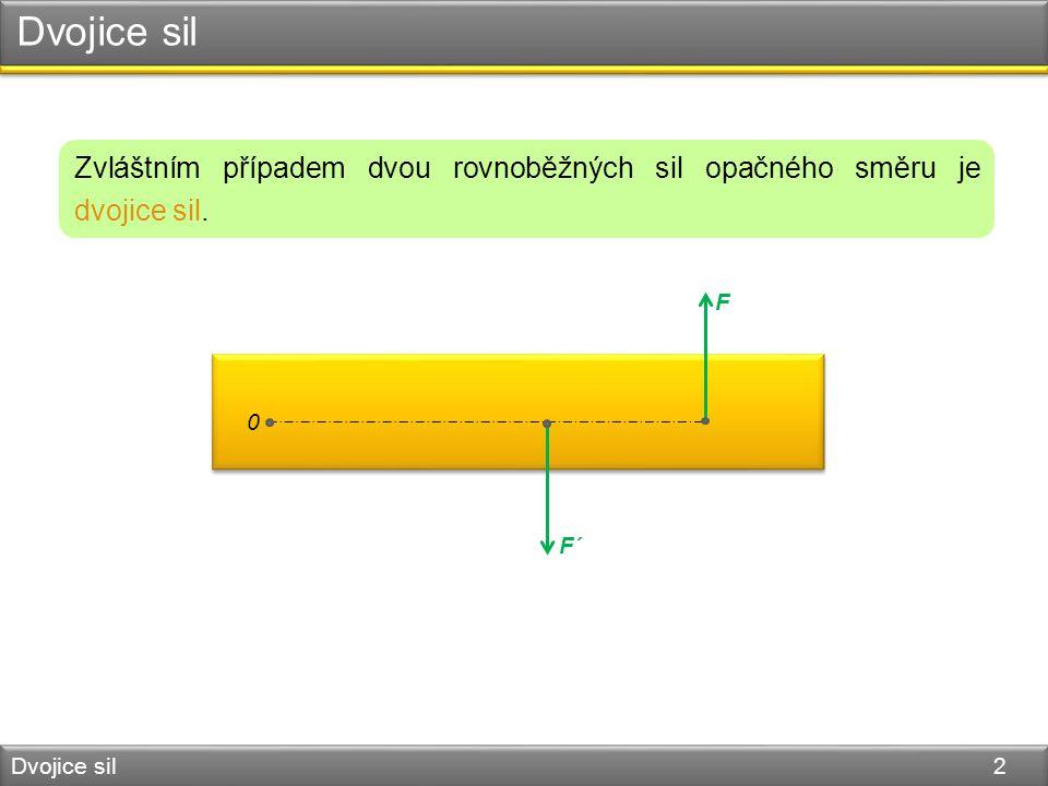 Dvojice sil Dvojice sil 3 F´ = − F 0 F´ F výslednice je nulová nelze je nahradit jedinou silou Dvojice sil má však na těleso otáčivý účinek.