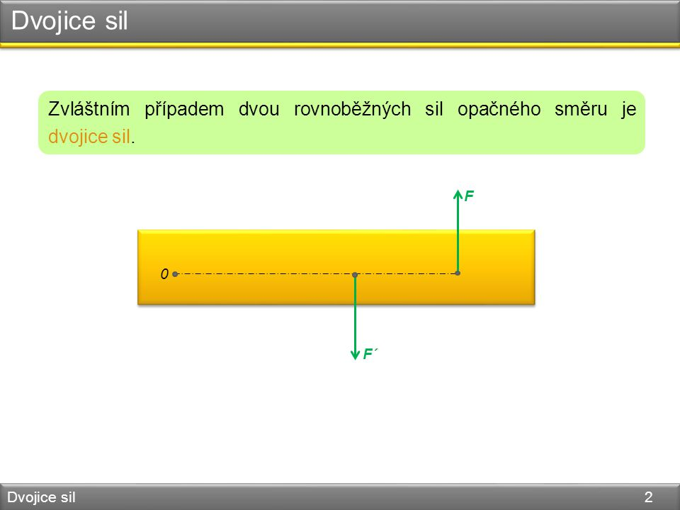Dvojice sil Dvojice sil 2 Zvláštním případem dvou rovnoběžných sil opačného směru je dvojice sil.