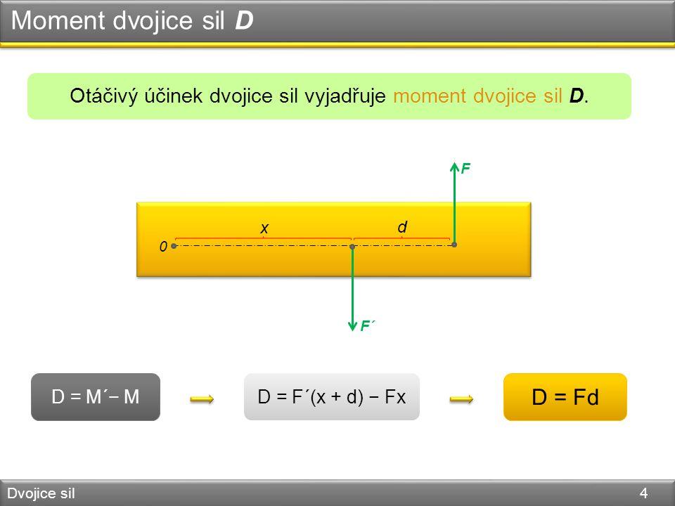 Moment dvojice sil D Dvojice sil 4 D = M´− M Otáčivý účinek dvojice sil vyjadřuje moment dvojice sil D.