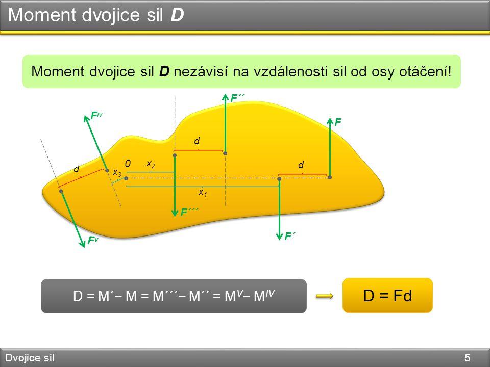 Moment dvojice sil D Dvojice sil 5 D = M´− M = M´´´− M´´ = M V − M IV Moment dvojice sil D nezávisí na vzdálenosti sil od osy otáčení! 0 D = Fd F´ F d
